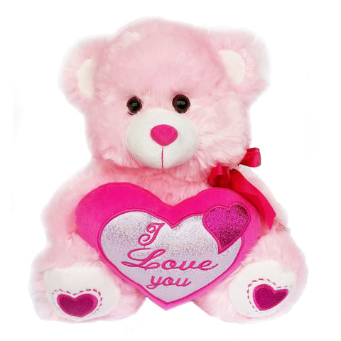 "12"" Pink Music Teddy Bear with "" I Love You"" Heart and Light Up Cheek  (1 Piece)"