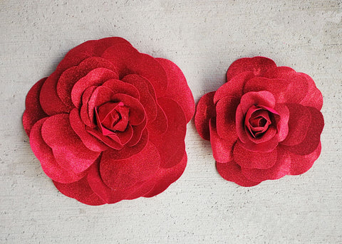 "12"" & 16"" Foam Backdrop Flowers with Glitter Red   (2 Pieces)"