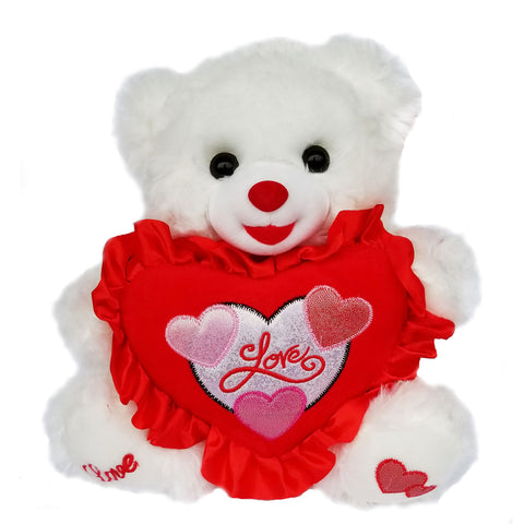 "12"" White Valentine Music Bear with Red Love Heart Say "" I Love You"" (12 Pieces)"