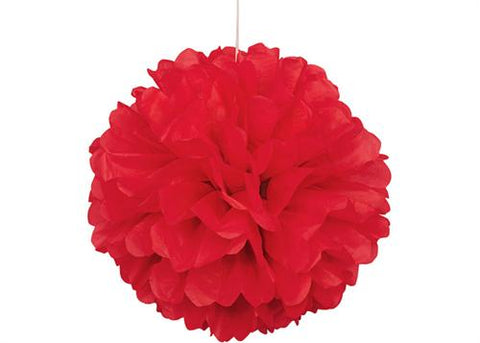 16'' Puff Tissue Paper Balls - Red 1 Piece