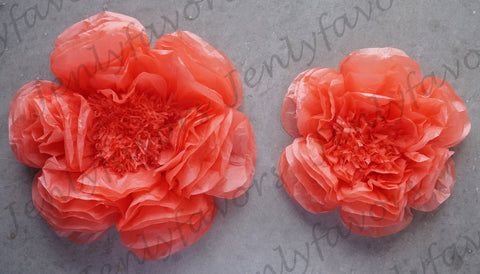 "12"" & 16"" Large Tissue Backdrop Flowers Party Wall Decoration Coral (2 Pieces)"