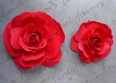 "12"" & 16"" Foam Backdrop Flowers for Beautiful Room Wall Decoration Red (2 Pieces)"