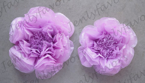 "12"" & 16"" Large Tissue Backdrop Flowers Party Wall Decoration Lavender (2 Pieces)"