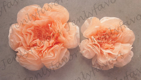 "12"" & 16"" Large Tissue Backdrop Flowers Party Wall Decoration Orange (2 Pieces)"