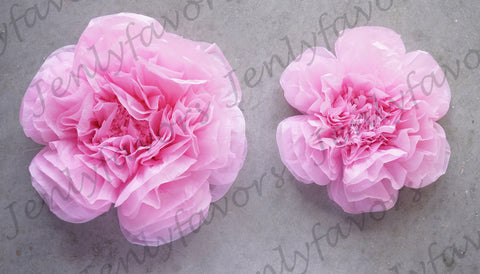 "12"" & 16"" Large Tissue Backdrop Flowers Party Wall Decoration Pink (2 Pieces)"