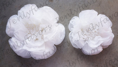 "12"" & 16"" Large Tissue Backdrop Flowers Party Wall Decoration White (2 Pieces)"