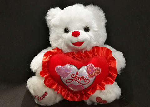 "12"" White Music Bear with Red Love Heart Say "" I Love You"" (1 Piece)"