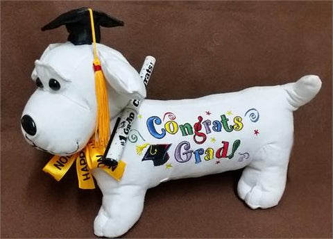 12 White Graduation Dog with Pen(12 Pieces)