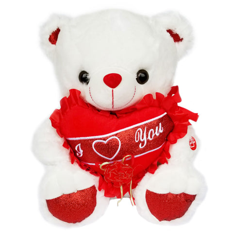 "15"" White Musical Valentine Bear with a Heart Say ""I Love You"" (1 piece )"