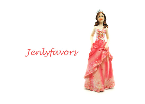 Mis Quince Anos and Sweet 16 Cake Topper Doll 6.5 inches Fuchsia (12 Pieces)