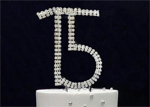 "5-1/8"" Large Number 15 Rhinestone Quinceanera Cake Topper Silver"