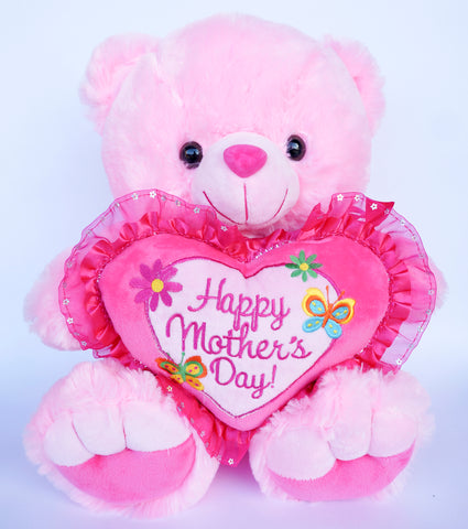 "16"" Pink Musical Teddy Bear with ""Happy Mother's Day"" Heart (6 Pieces)"