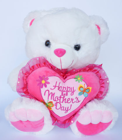 "16"" White Musical Teddy Bear with ""Happy Mother's Day"" Heart (6 Pieces)"