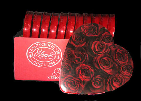 Elmer Valentines Chocolate 6.8oz Heart Shaped Box Red Wrap  (12 boxes)