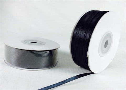 Double Face Satin Ribbon 100% Polyester (1/8th inch wide, BLACK)