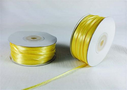 "1/8"" Daffodil Yellow Doubleface Satin Ribbon 100 Yards"