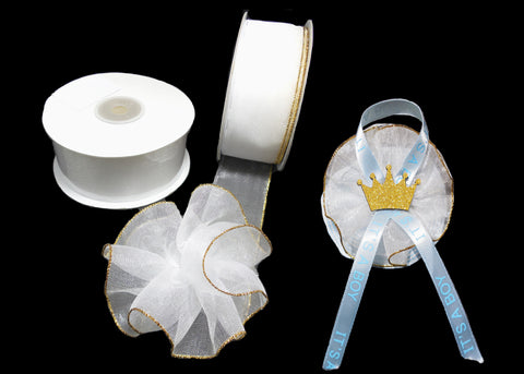 "White 1-1/2"" Sheer Organza Capia Pull Bow Ribbon with Single Gold Edge 25 Yards"