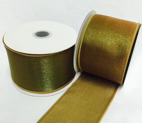 "2.5"" Sheer Organza Wired Nylon Ribbon Brown (10 Yards)"