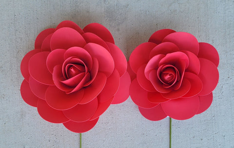 "13"" & 16"" Foam Backdrop Flowers with Stick for Beautiful Room Wall Decoration Red (2 Pieces)"