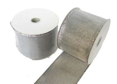 "2-1/2"" Metallic Nylon Wired Ribbon Silver (10 Yards)"