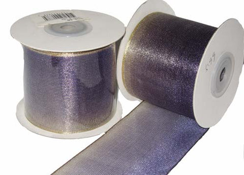 "2-1/2"" Nylon Wired Ribbon Gold Purple (10 Yards)"