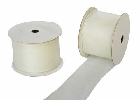 "2-1/2"" Organza Wired Ribbon Ivory 10 Yards"