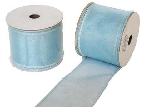 "2-1/2"" Organza Wired Ribbon Light Blue 10 Yards"