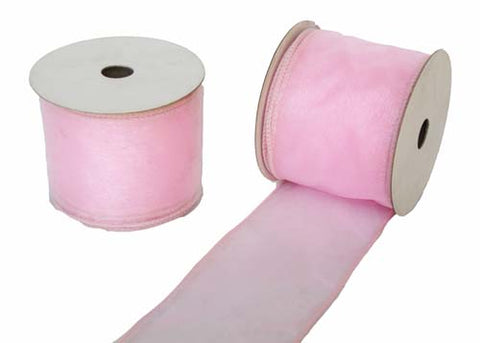 "2-1/2"" Organza Wired Ribbon Pink 10 Yards"