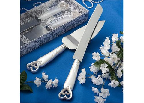 Interlocking Hearts Design Cake Knife and Server Set