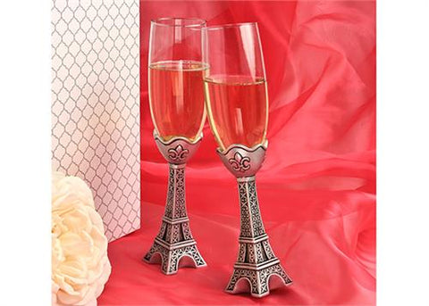 Love In Paris Eiffel Tower Design Champagne Flutes