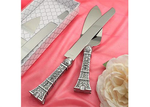 Love In Paris Eiffel Tower Design Cake Knife and Server Set