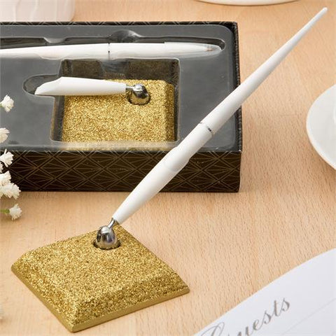Gold Glitter Pen and Holder Set