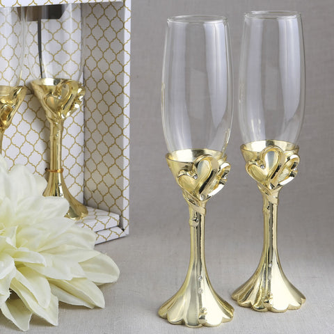 Gold Double Hearts Design Champagne Flute Set