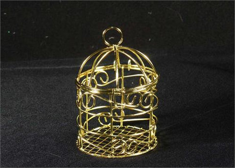 Small Wire Bird Cage Favor Gold