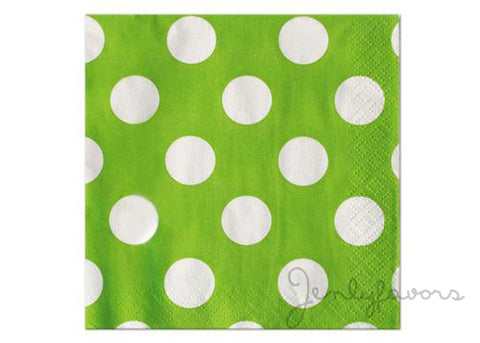 "13"" x 13'' Polka Dots Paper Luncheon Napkin - Lime Green (16 Pieces)"