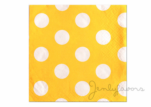 "13"" x 13'' Polka Dots Paper Luncheon Napkin - Sun Flower Yellow (16 Pieces)"
