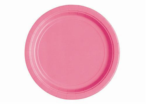 "Hot Pink Plastic Plates 9"" (8 Pieces)"