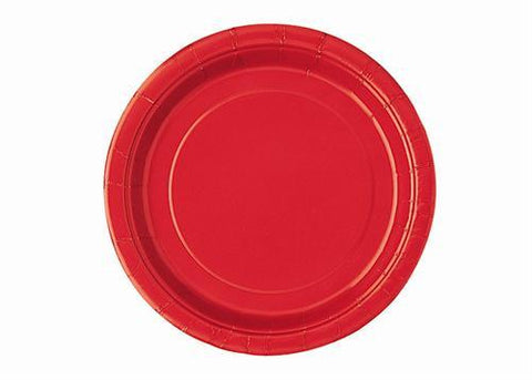 "Ruby Red Plastic Plates 7"" ( 12 Pieces)"