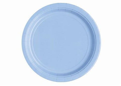 "7"" Baby Blue Paper Plates (20 Pieces)"