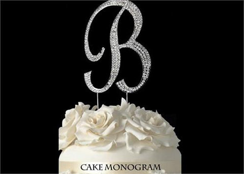 "4-1/2"" Large Letter B Rhinestone Cake Topper Silver"