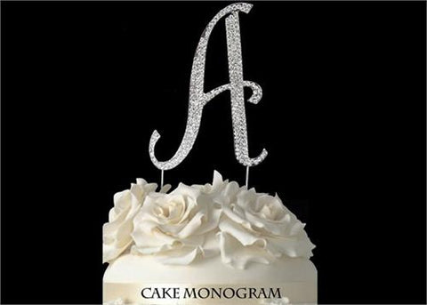 "4-1/2"" Large Letter A Rhinestone Cake Topper Silver"