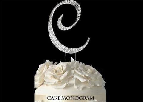 "4-1/2"" Large Letter C Rhinestone Cake Topper Silver"