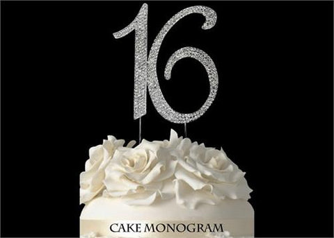 "4-1/2"" Large Number 16 Rhinestone Sweet 16 Cake Topper Silver"