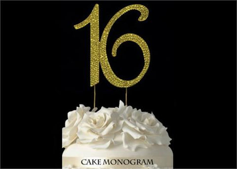 "4-1/2"" Large Number 16 Rhinestone Sweet 16 Cake Topper Gold"