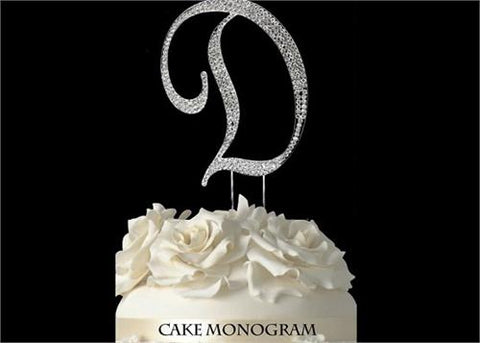 "4-1/2"" Large Letter D Rhinestone Cake Topper Silver"