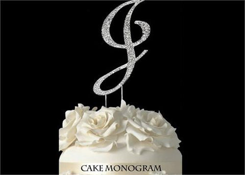 "4-1/2"" Large Letter J Rhinestone Cake Topper Silver"