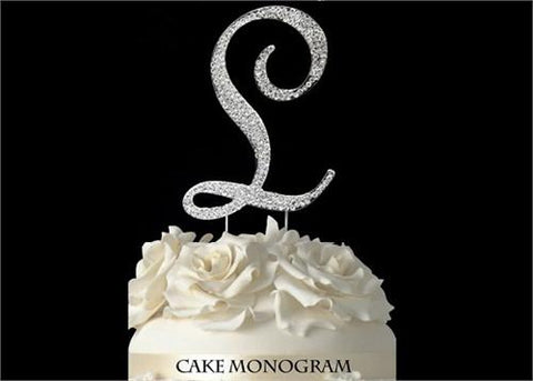 "4-1/2"" Large Letter L Rhinestone Cake Topper Silver"