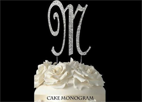 "4-1/2"" Large Letter M Rhinestone Cake Topper Silver"