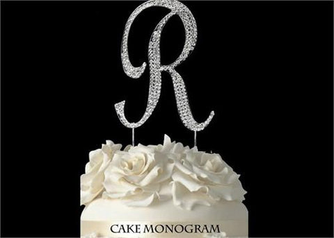 "4-1/2"" Large Letter R Rhinestone Cake Topper Silver"