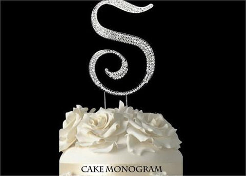 "4-1/2"" Large Letter S Rhinestone Cake Topper Silver"